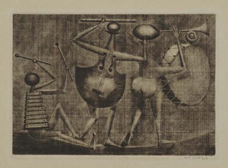 ≪夜の楽士達≫ 1953年 日本版画協会21回展出品 メゾチント