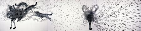 鴻池朋子『ナイファーライフ』2000-01 アクリル、鉛筆、墨、キャンバス、木パネル 1800 x 8100 x 50 mm 高橋コレクション 撮影:宮島径 ©KONOIKE Tomoko,Courtesy Mizuma Art Gallery