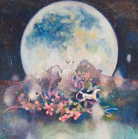 『みひとつ』 2011年 100×100cm ケント紙にアクリル neutron tokyo 撮影:木田光重