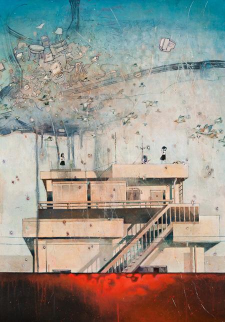 『遠き虹を夢む』 2011年 103cm×72.8cm ケント紙にアクリル neutron tokyo 撮影:木田光重