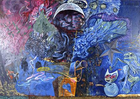 『はじめまして筆』1990 パネル、油彩 190×270cm ©AIDA Makoto Courtesy the artist and MIZUMA ART GALLERY