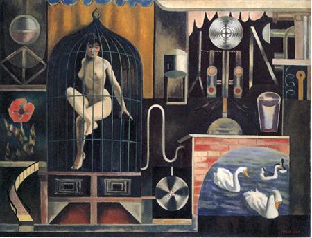 古賀春江《鳥籠》1929(昭和4)年 油彩・キャンバス 111.2×145.0cm 石橋財団 石橋美術館