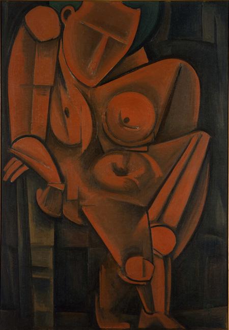 萬鉄五郎《もたれて立つ人》1917(大正6)年 油彩・キャンバス 162.5×112.5cm 東京国立近代美術館