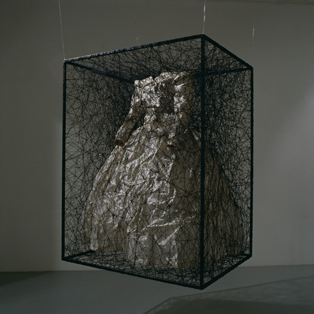 Chiharu Shiota State of Being - Wedding Dress 2008 Metal frame, black thread, dress h.130 x 100 x 80 cm ©Chiharu Shiota photo : Tetsuo Ito Courtesy : KENJI TAKI GALLERY