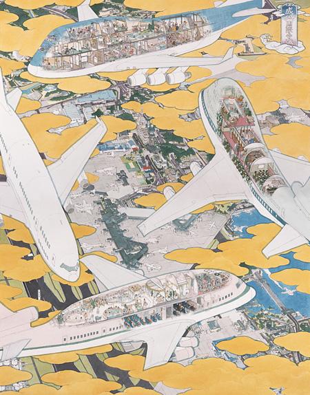 成田国際空港第1 ターミナル南ウィング4 階 壁画の為の原画より「成田国際空港 飛行機百珍圖」/ 2005 / 紙にペン、水彩 / 撮影:宮島径 ©YAMAGUCHI Akira / Courtesy Mizuma Art Gallery