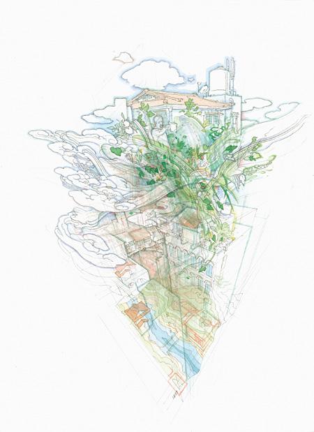TOKIO RE(I)MIX / 2011 / 紙に鉛筆、水彩 / 33.3cm×24.2cm ©YAMAGUCHI Akira / Courtesy Mizuma Art Gallery