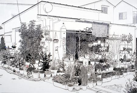 須藤由希子《鉢植えと家 - 深沢》 2008年 アクリル、鉛筆/パネル貼りカンヴァス Courtesy of the artist and Take Ninagawa,Tokyo