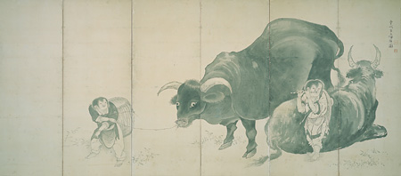 曾我蕭白 《牧童群牛図屏風》(右隻) 個人蔵(展示期間:5月2日〜20日)