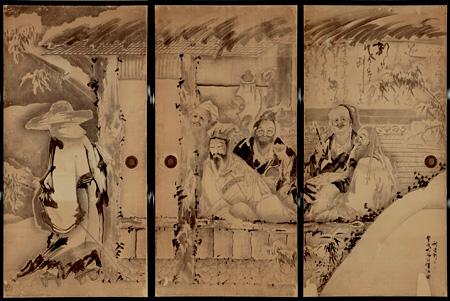 曾我蕭白 《竹林七賢図襖》 (旧永島家、部分) 三重県立美術館蔵 重要文化財