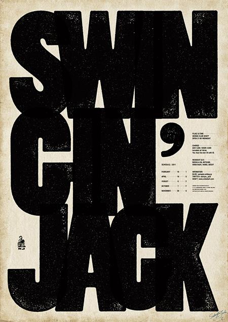 高谷廉 DJイベントのポスター「SWINGIN' JACK」(cl:佐藤貞治)