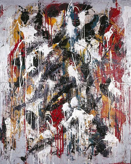 村上三郎《作品》1958年 油彩・布 184.1×146.0cm  北九州市立美術館蔵