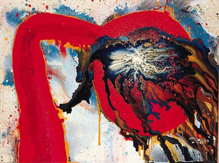 元永定正《作品》1962年 アクリル・布・板 172.0×229.3cm 兵庫県立美術館(山村コレクション)蔵
