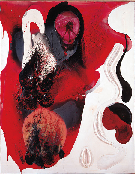 松谷武判《WORK '65》1965年 ビニール・布 182.2×142.6cm 兵庫県立美術館蔵