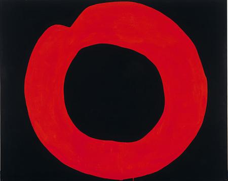 吉原治良《黒地に赤い円》1965年 アクリル・布 181.5×227.0 cm 兵庫県立美術