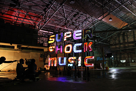 「SUPER SHOCK MUSIC」プロジェクションマッピングミュージックビデオ撮影風景