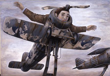 石田徹也「飛べなくなった人」 1996年 静岡県立美術館蔵