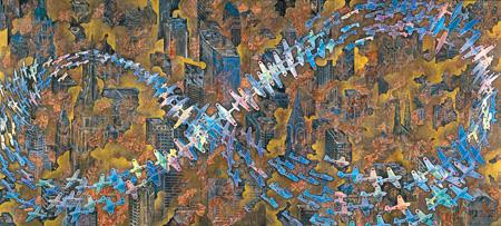 会田誠「紐育空爆之図(戦争画RETURNS)」 1996年 高橋コレクション蔵 零戦CG制作:松橋睦生 撮影:長塚秀人 ©AIDA Makoto Courtesy Mizuma Art Gallery