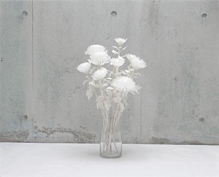 福永恵美 《greenhide》 2006年 パラフィン蝋、蜜蝋、油絵具、脱色した菊の葉、木材、ガラス容器 作家蔵