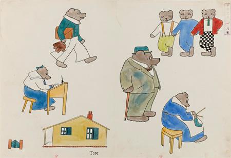 [こぐまさんの家族]原画(『子供之友』1927年1月号) 婦人之友社蔵