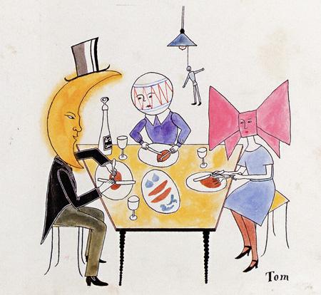 「リボンときつねとごむまりと月」原画(部分)(『子供之友』1926年7月号) 婦人之友社蔵