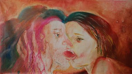 上村江里『Kiss』 2012年 キャンバスに油彩 170×300cm