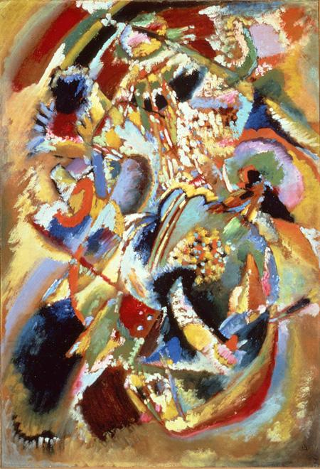 ワシリー・カンディンスキー『「E.R.キャンベルのための壁画No.4」の習作(カーニバル・冬)』 1914年 宮城県美術館蔵