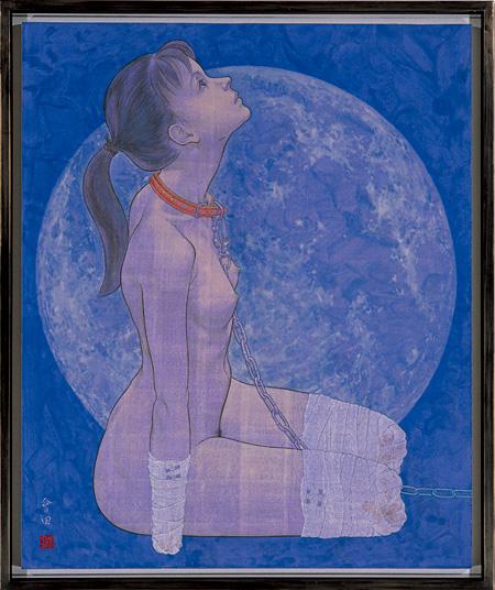 """会田誠『犬(雪月花のうち""""月"""")』 1996年 岩顔料、アクリル絵具、和紙、パネル 100×90cm 高橋コレクション蔵、東京 Courtesy: Mizuma Art Gallery"""