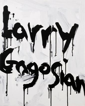 KIM GORDON『Larry Gagosian』 edition of 50 / サイン入り キャンバス (406 x 508mm)