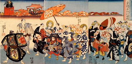歌川国芳(一勇斎)『勇国芳桐対模様』嘉永元年頃(C.1848)、大判三枚続、多色木版 ※前期のみの展示