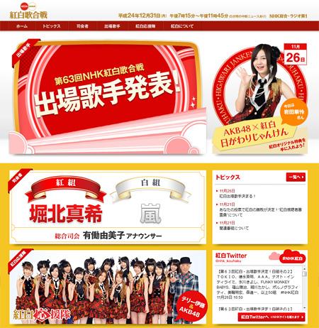 『第63回NHK紅白歌合戦』オフィシャルサイトより