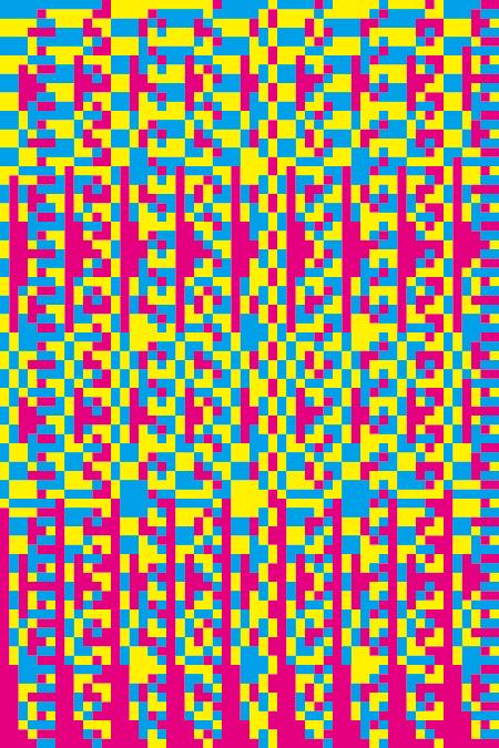 『灰色絵画 #4(シアン、マゼンタ、イエローによる)』 2005年 油性溶剤デジタルプリント、合成樹脂、アルミフレーム 府中市美術館蔵