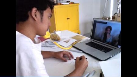Skypeを使用した作画の様子