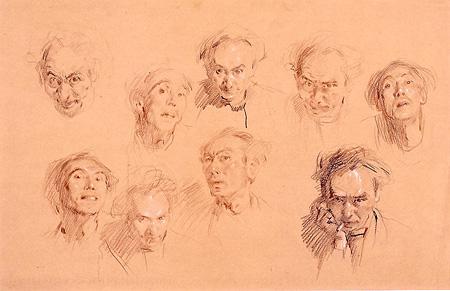『自画像 さまざまな表情』紙・コンテ、1960年頃 世田谷美術館所蔵