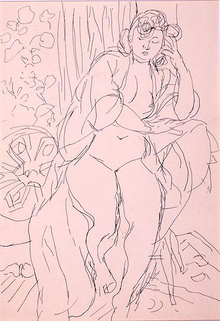 『座る裸婦』紙・インク、1947年頃 世田谷美術館所蔵