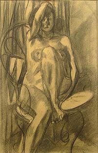 『裸婦』紙・木炭、1954年 世田谷美術館所蔵
