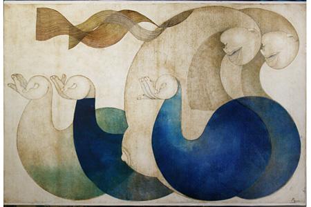 高橋亜弓『白昼夢』 2011年 油性木版(凹、凸版) 61×91cm コラージュ
