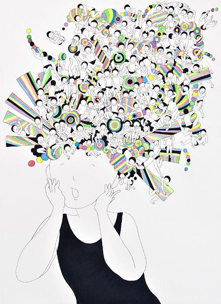 時松はるな『トーキングヘッド』 2011 シャープペンシル、水彩、紙、パネル 72.7x53.0cm