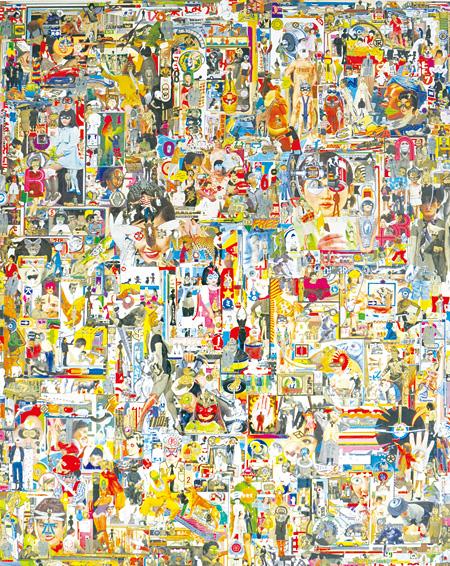 渡部剛『Landscape of abstract cityー抽象都市の風景画』(ミクストメディア、木製パネル)