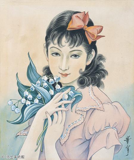 高畠華宵 花をいだいて(鈴蘭) ©弥生美術館