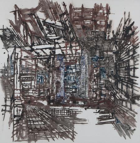 ホン・セクチェン『温故知新』 2010年、墨、紙、h.138×138cm シンガポール美術館蔵