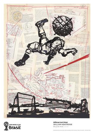 ウィリアム・ケントリッジ『Bicycle Kick』2009 112.3 x 79.0 cm edition of 2014 / 小山登美夫ギャラリー(FIFAのポスター展のイメージビジュアル)