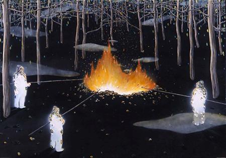 池田光弘『untitled』112.0x162.0cm 2005 コットン、ミックスドメディア