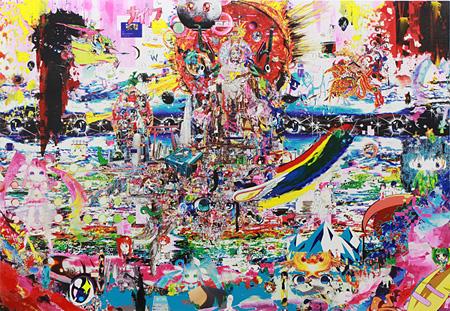 """梅沢和木『キャラ出処のカオス』 """"Chaos of the Rising Characters"""" ジェッソ地に画像を出力、アクリル Digital print and acrylic on gesso on wood panel H1120×W1620mm 2012"""