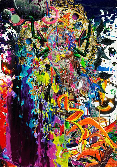 梅沢和木『とあ人景II〜史上之宴之図〜』A C Mankind' s Landscape II -very best of hyper UTAGE- インクジェットプリントを木製パネルに貼付、アクリル、ペン、ラメ糊など inkjet-print mounted wood panel on acrylic, pen, glitter paint H227× W158 mm 2012