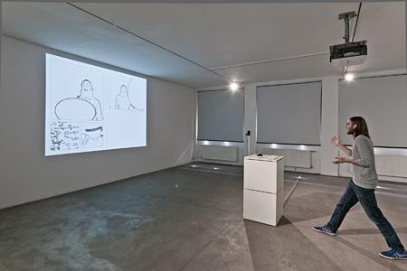 ノヴァ・ジャン『Ideogenetic Machine』2011年 Photo:Otto SAXINGER 「Cyberarts 2012」(OKセンター,リンツ,オーストリア,2012)での展示風景