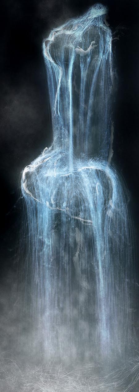 チームラボ『瀧』(仮題) アニメーション(プロジェクション) 高さ10メートル