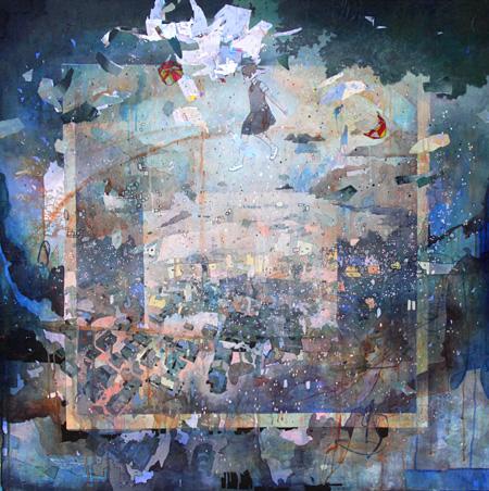 『夢を待つ街』2012年 1000×1000mm ケント紙にアクリル、鉛筆、プラスチック、マーカー