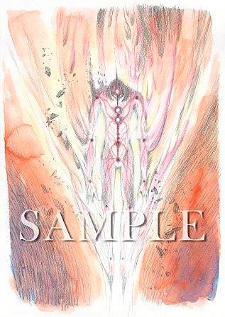 エヴァ疑似シン化第2形態 (通称 光の巨人)イメージボード兼設定 決定稿 「エヴァンゲリオン展」松屋銀座©カラー
