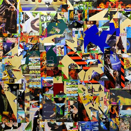 金氏徹平『Ghost in the Liquid Room (lenticular) #1』2012年 レンチキュラー、反射シート、木 180×180cm Courtesy: ShugoArts, Tokyo