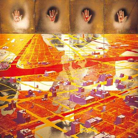 横尾忠則『戦後』 1985年 シルクスクリーンによる釉薬・セラミック+磯崎新によるフレーム 240.0×240.0cm 原美術館蔵